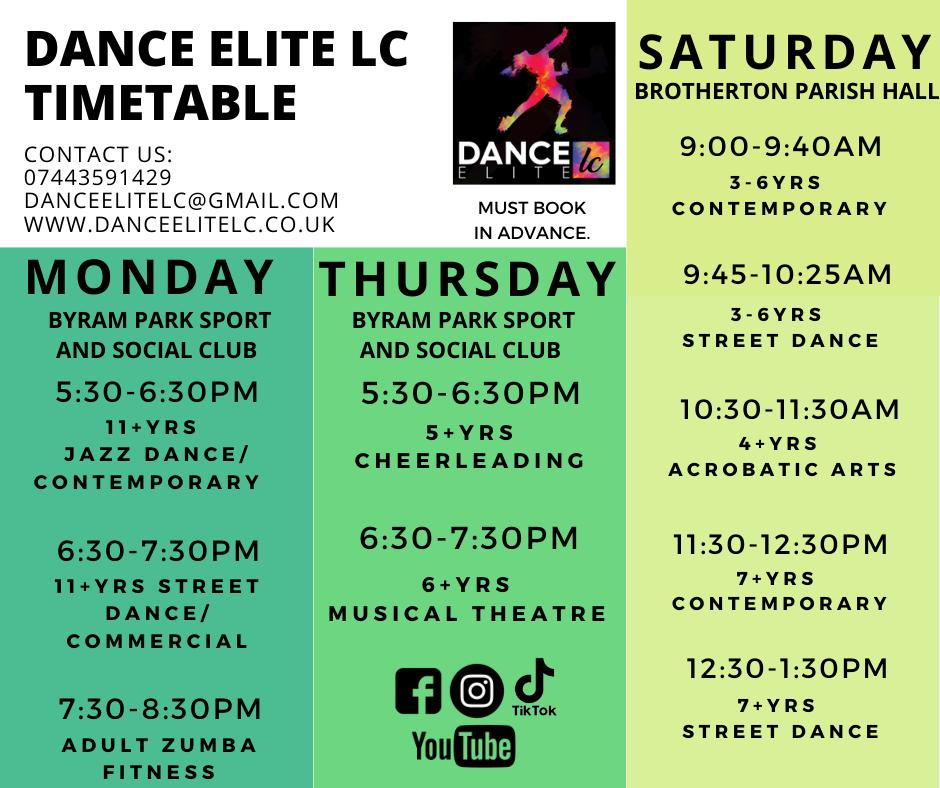 Dance Elite Timetable