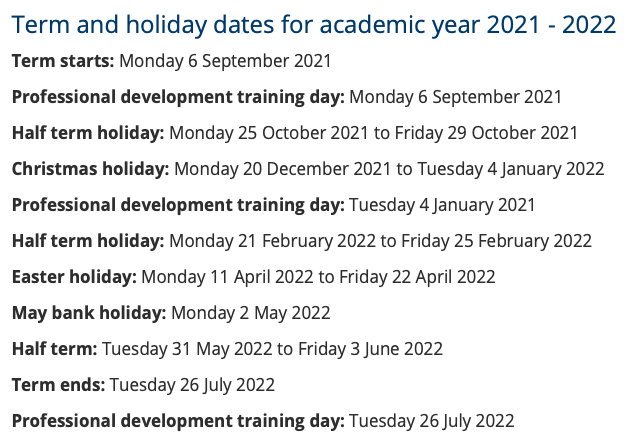 A list of school holidays in selby