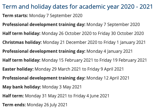 A full list of all selby school holidays