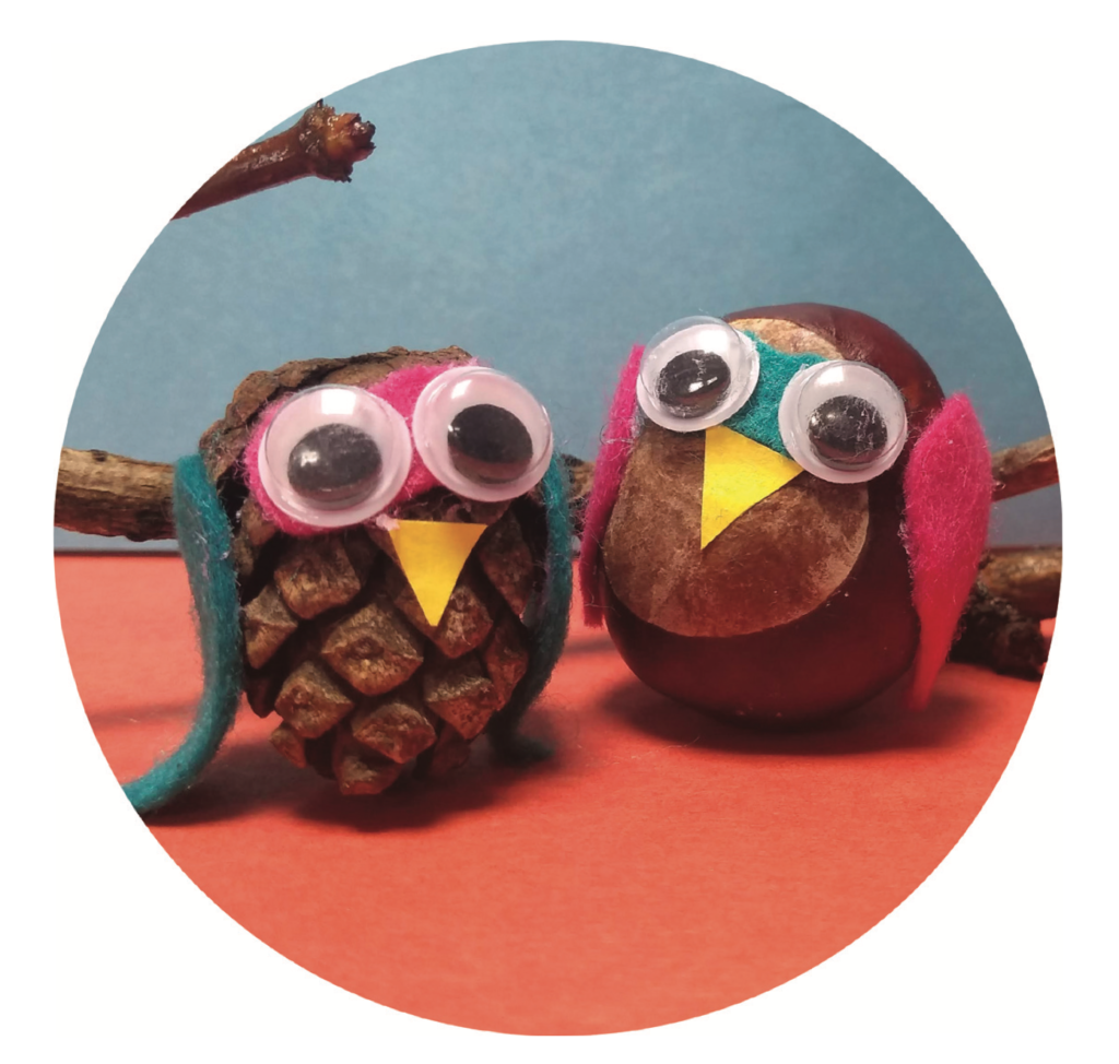 Craft owls made from conkers and pine cones