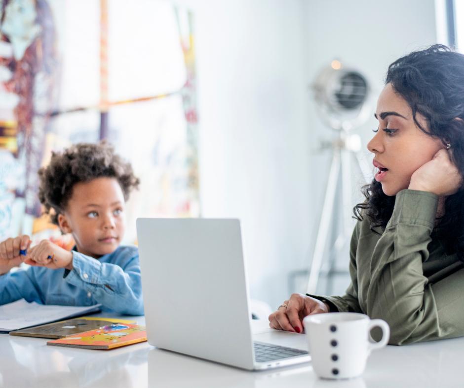 A mother homeschooling