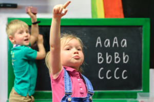 Two children in a classroom