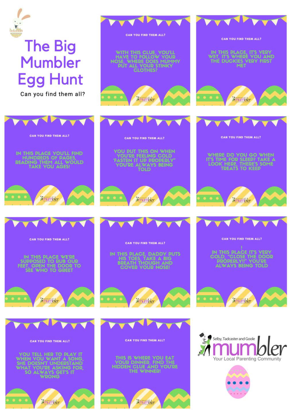 STAG Mumbler Easter egg hunt clues