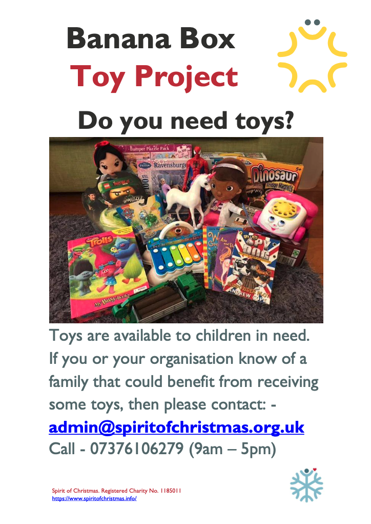 Spirit Of Christmas poster offering free toys